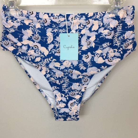 NWT Cupshe Floral Bikini High Waist Bottoms